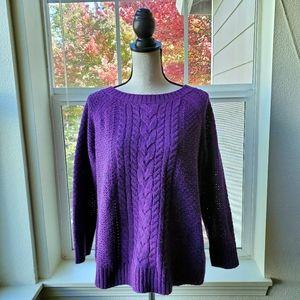 St. John's Bay Purple Knitted Sweater   PXL